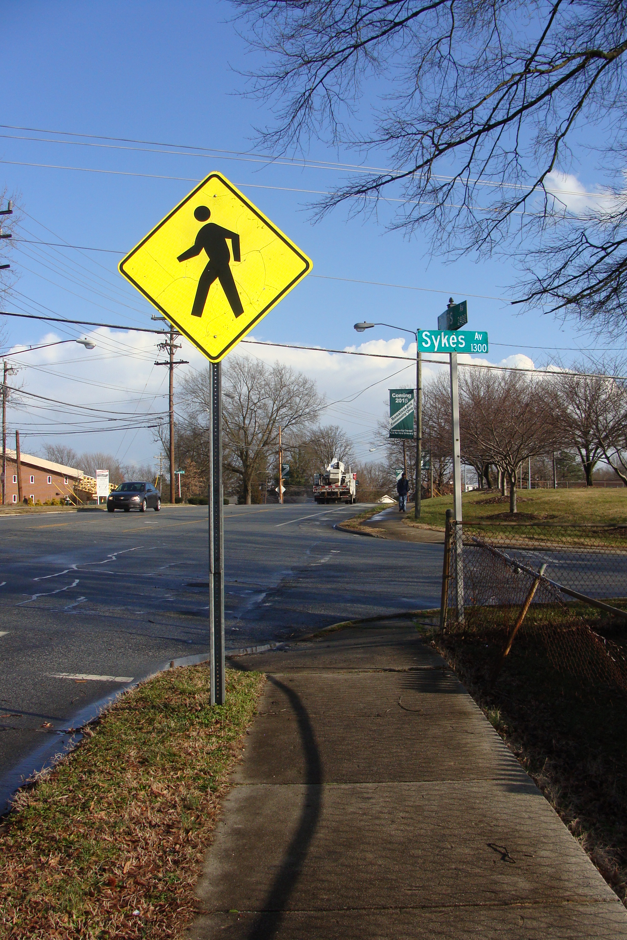 Image for Crosswalk with pedestrian refuge island for safe crossing of Phillips Avenue